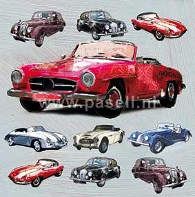 Classic car (rood) wenskaart