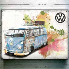 VW campervan aged grunge Wall Sign